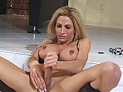 Hung blonde shemale beauty tugs her cock