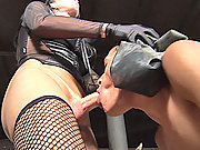 Shemale dominatrix foot worship and sex